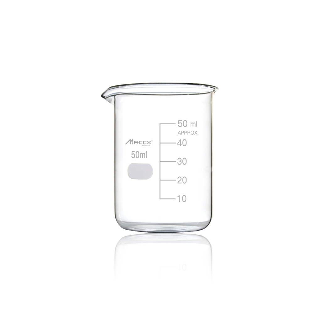 Maccx 1.7oz(50ml) Sturdy Glass Beaker, 3.3 Borosilicate Griffin Low Form with Printed Graduation, Pack of 12, BKL050-012