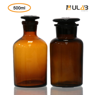 ULAB Scientific Reagent Bottle Set, 1pc of Wide Mouth Bottle, 1pc of Narrow Mouth Bottle, with Ground-in Glass Frosted Stopper, Amber Glass, Vol. 500ml, URB1012
