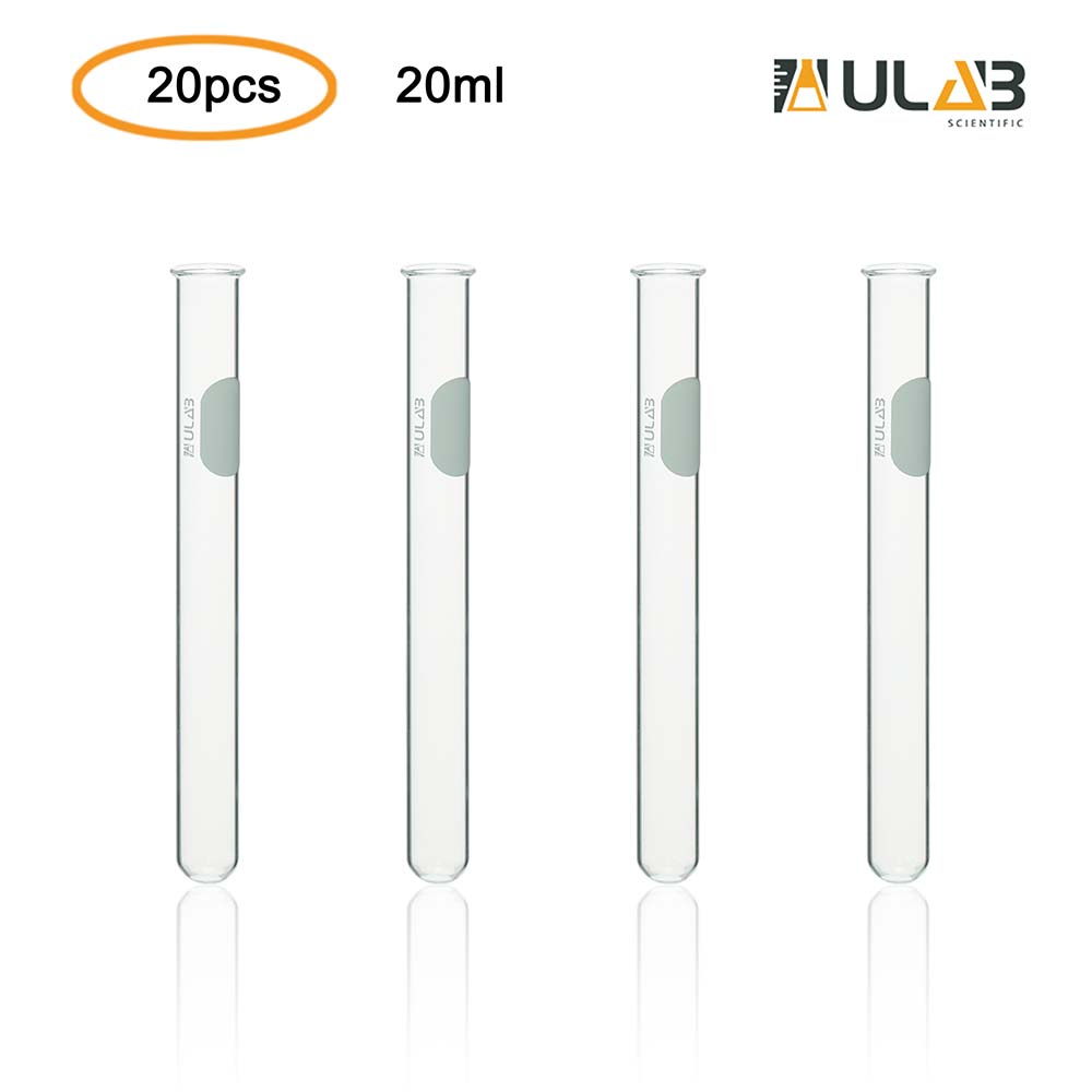 ULAB Scientific Glass Test Tube with Rim, Shot Glass, Cocktail Party Tubes, Cap.20ml, 16x150mm, 3.3 Borosilicate Glass Material, Pack of 20, UTT1008