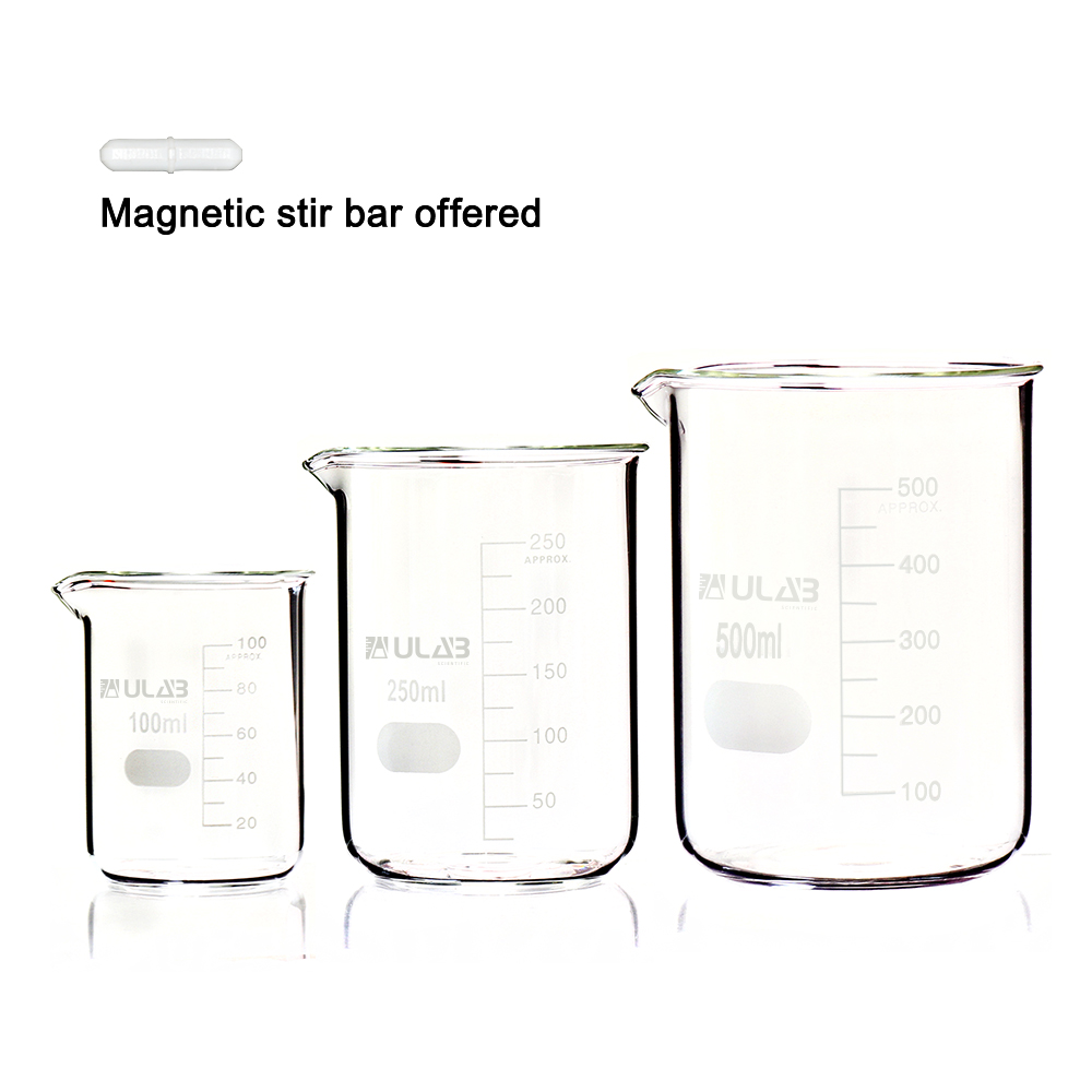 ULAB Scientific Low Form Griffin Glass Beaker Set with Magnetic Stir Bar Offered, 3 Sizes 100ml 250ml 500ml, 3.3 Borosilicate Glass, Printed Graduation, UBG1004