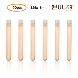 ULAB Plastic Test Tubes with Flange Stoppers, 50pcs of Dia.16x125mm Party Tubes, Light Orange Color, 50pcs PE Flange Stoppers, Dia.16mm, Nature Color, UTT1019