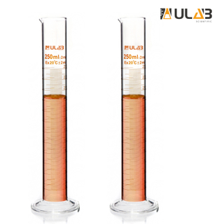 ULAB Scientific Glass Measuring Cylinder 250ml, 3.3 Boro Round Base, Pack of 2, UMC1002