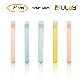 ULAB Plastic Test Tubes with Flange Stoppers, 50pcs of Dia.16x125mm Party Tubes, Assorted Color, 50pcs PE Flange Stoppers, Dia.16mm, Nature Color, UTT1021