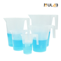 ULAB Scientific Half Handle Plastic Measuring Beaker Set, Stackable 5 Sizes 250ml 500ml 1000ml 2000ml 3000ml, with Spout and Molded Graduation, UBP1004