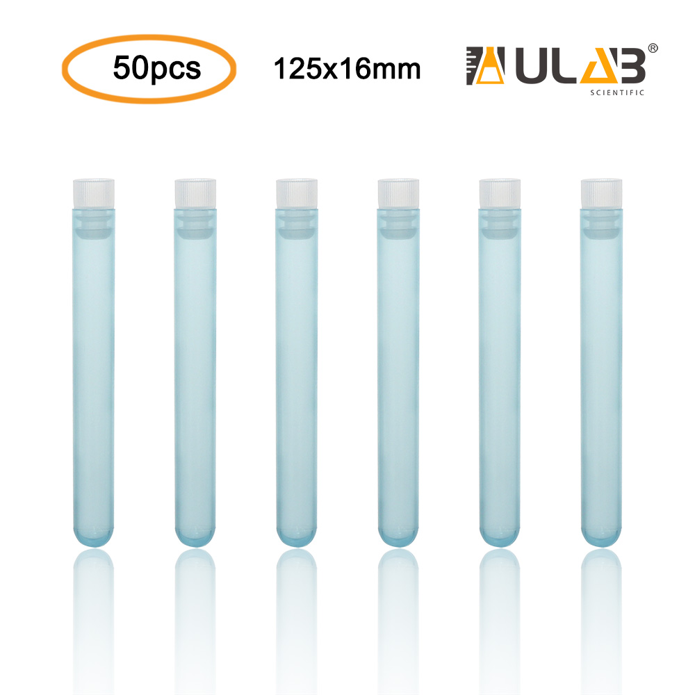 ULAB Plastic Test Tubes with Flange Stoppers, 50pcs of Dia.16x125mm Party Tubes, Blue Color, 50pcs PE Flange Stoppers, Dia.16mm, Nature Color, UTT1016