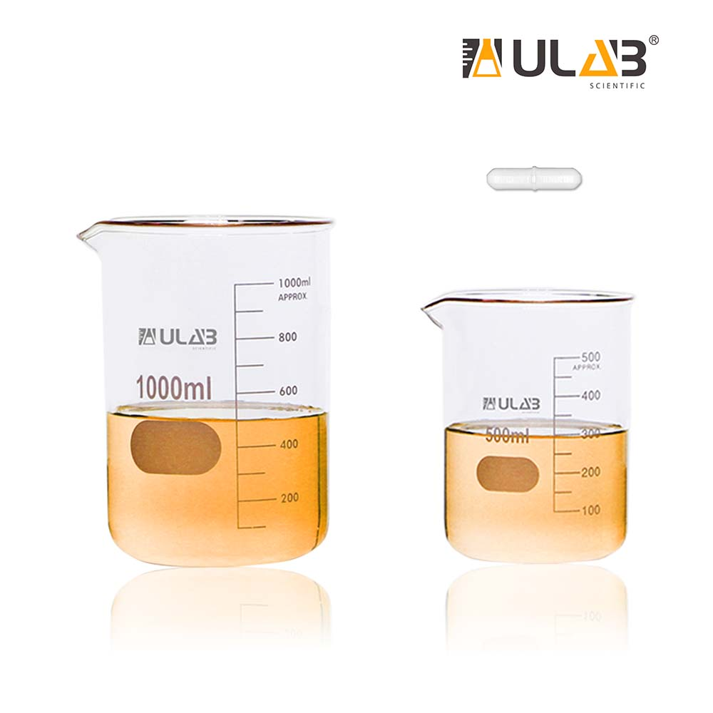 ULAB Glass Beaker Set with Magnetic Stir Bar Offered, 2 Sizes 500ml 1000ml, 3.3 Boro Griffin Low Form with Printed Graduation, UBG1021